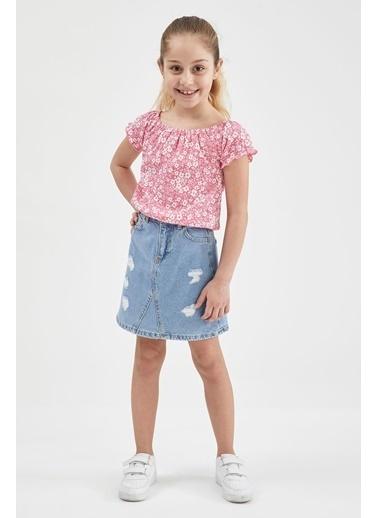 DeFacto Kız Çocuk Çiçek Desenli Kısa Kol Tişört Pembe
